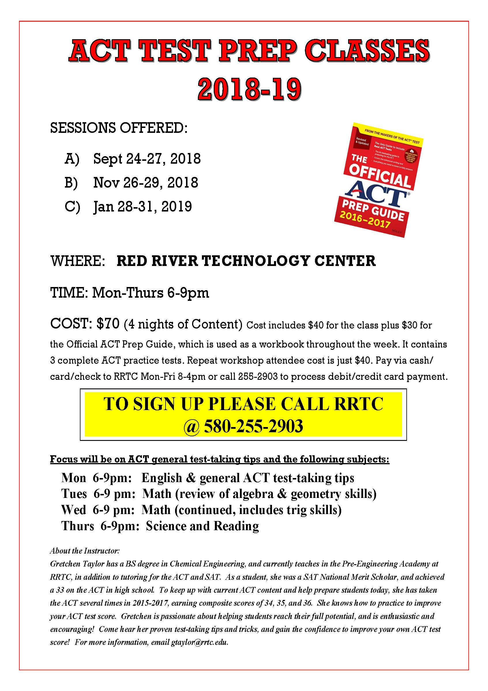Act Test Prep Classes Red River Technology Center